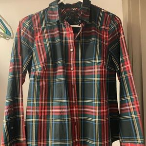 Classic green and red plaid shirt